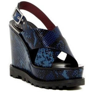 NWOT Marc Jacobs Snake Print Leather Wedge Sandals